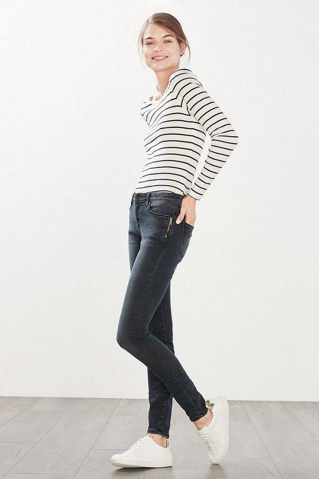 ESPRIT CASUAL Skinny-Jeans mit Zippertaschen in BLUE DARK WASHED