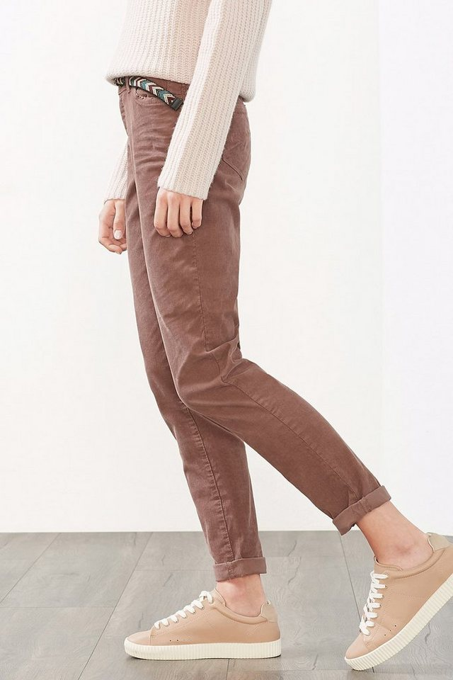 ESPRIT CASUAL Feincord-Stretch-Chino mit buntem Gürtel in DARK OLD PINK
