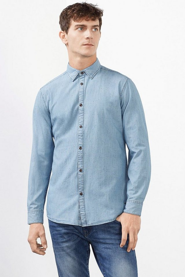 ESPRIT CASUAL Helles Denim Hemd mit Farbeffekten in BLUE