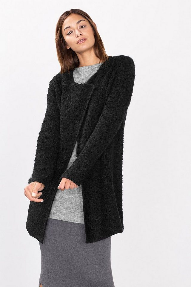 ESPRIT CASUAL Offener Bouclé-Cardigan aus Woll-Mix in BLACK