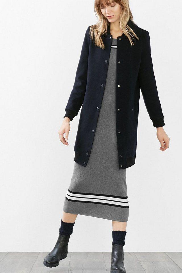 ESPRIT CASUAL Mantel mit Bündchen aus Woll-Mischung in NAVY