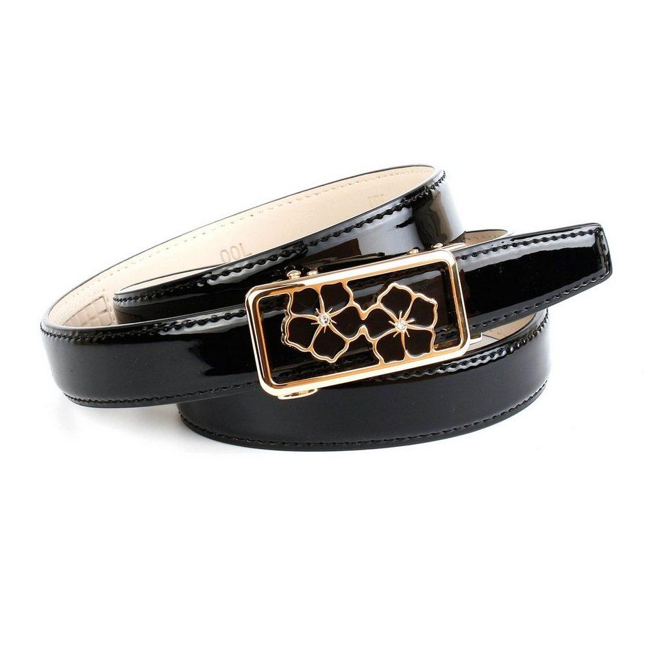 Anthoni Crown Lackledergürtel mit einer Designer-Schließe in Schwarz