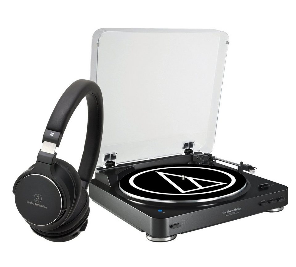 Audio-Technica Set: Bluetooth-Plattenspieler und High-Res Kopfhörer »AT-LP60BT und AT-SR5BT« in schwarz