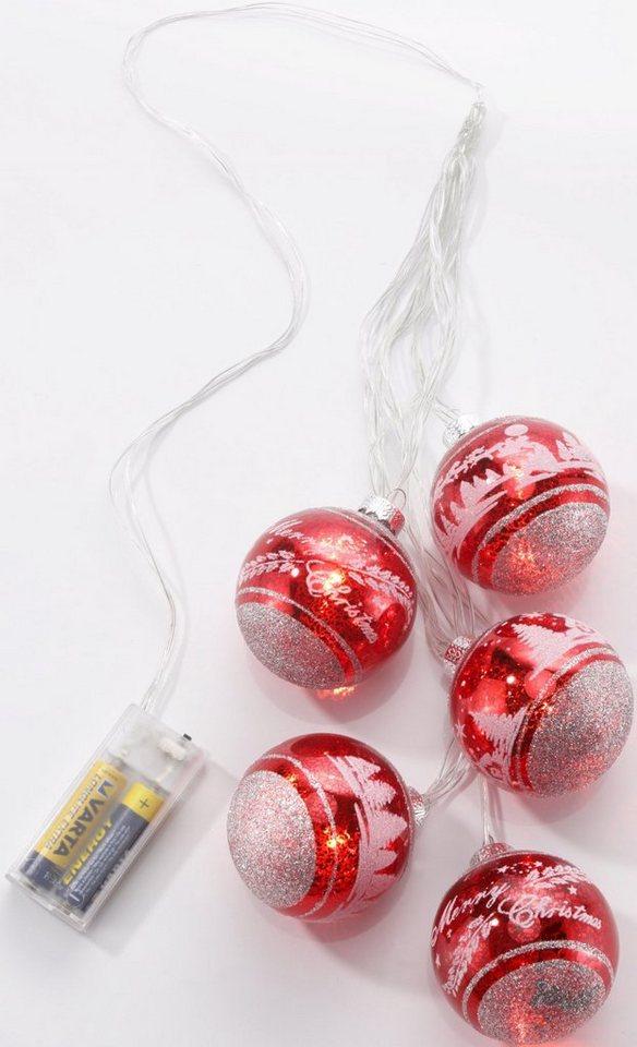 LED Glaskugelgehänge, 5-flammig in rot, silberfarben
