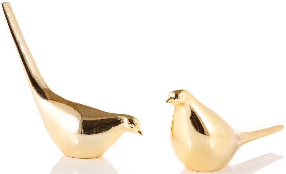 Deko-Vögel, 2-teilig in goldfarben