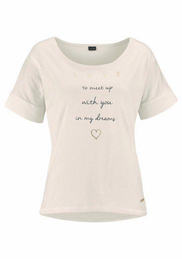 LASCANA Kurzarmshirt mit Schriftzug