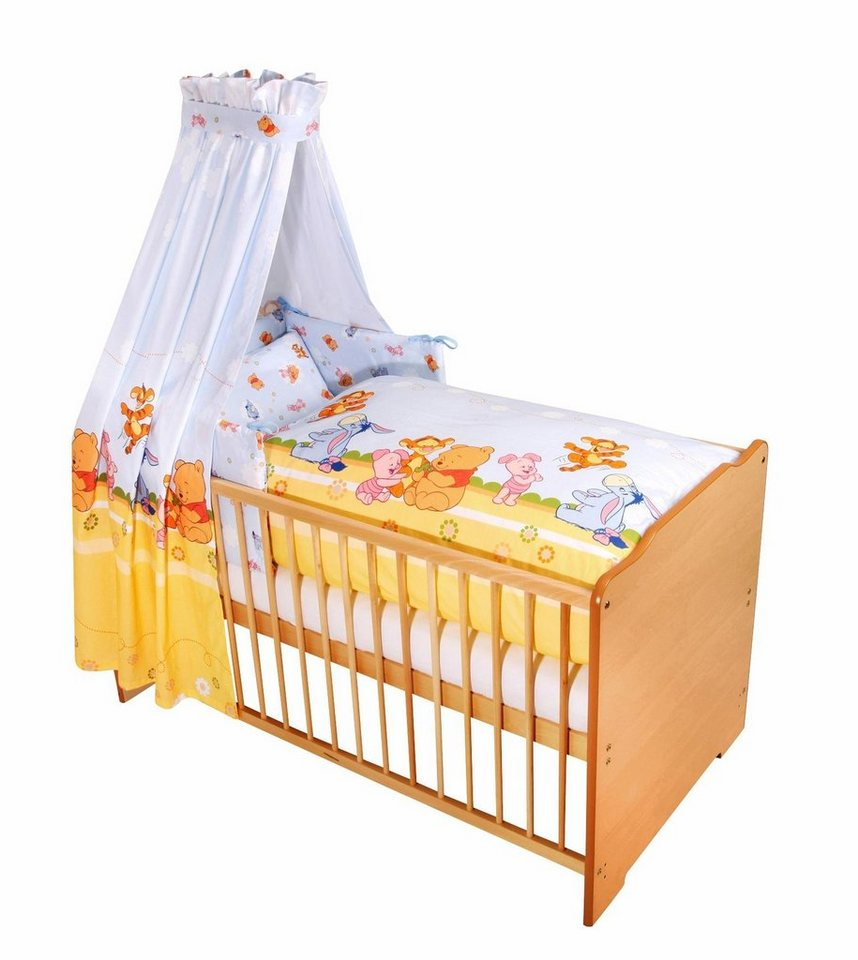 Disney Baby 7-tlg. Komplettbett, Babybett+ Matratze+ Himmelstange+ Himmel+ Nestchen+ Bettwäsche in natur