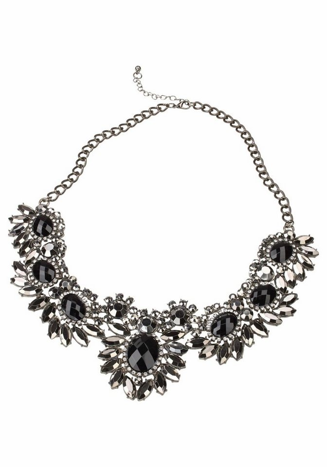 J. Jayz Collier im floralen Design in grau-schwarz