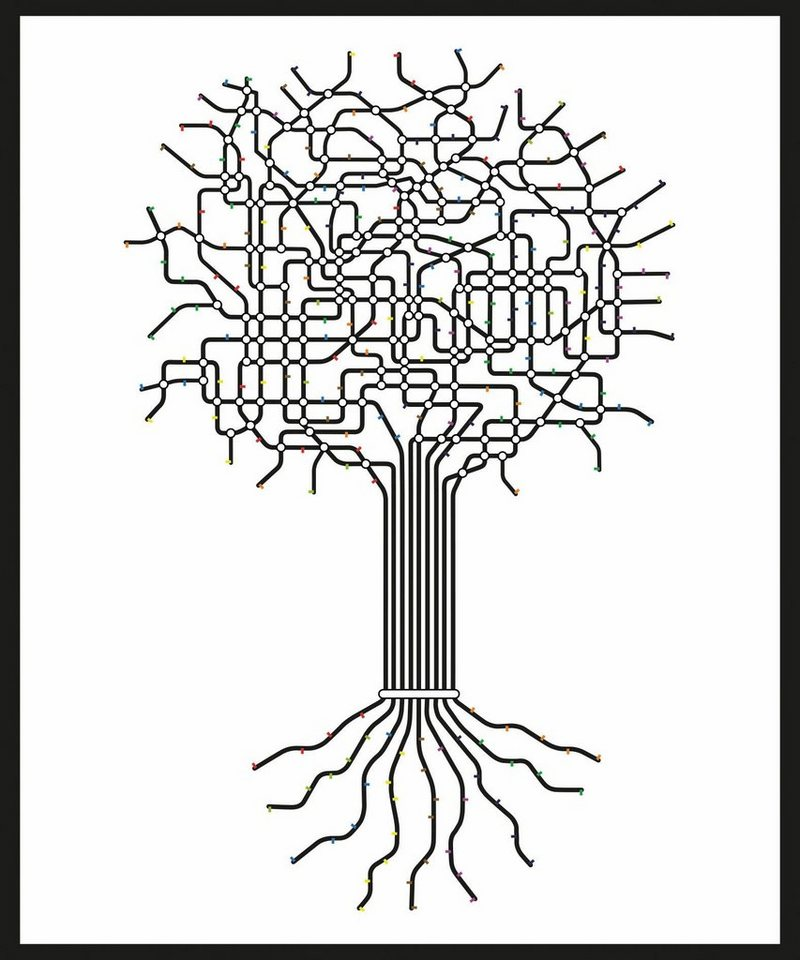 Home affaire Rahmenbild »Abstrakter Baum«, 50/60 cm in weiß/schwarz