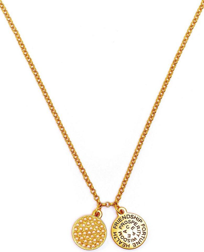Chrysalis Kette mit Anhänger »GOOD FORTUNE - Glas Perlen, CRNT0106GP« mit Swarovski-Glasperlen in goldfarben-weiß