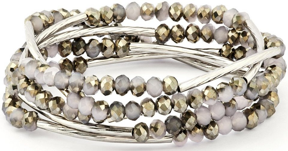 Chrysalis Wickelarmband »FRIENDSHIP - Intuitive Weisheit, CRWF0001SP-J« auch als Halskette tragbar, mit Glassteinen in silberfarben-grau-goldfarben