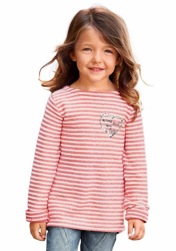 s.Oliver RED LABEL Junior Sweatshirt in rosa-geringelt