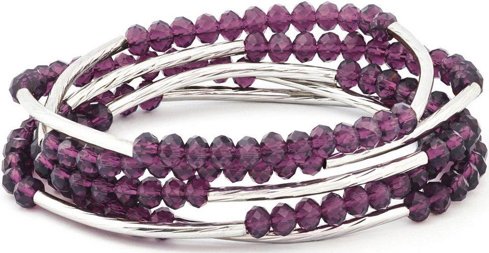 Chrysalis Wickelarmband »FRIENDSHIP - Individualität, CRWF0001SP-F« auch als Halskette tragbar, mit Glassteinen in silberfarben-violett
