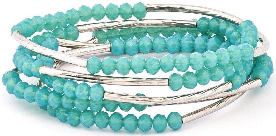 Chrysalis Wickelarmband »FRIENDSHIP - Integrität, CRWF0001SP-I« auch als Halskette tragbar, mit Glassteinen in silberfarben-türkis