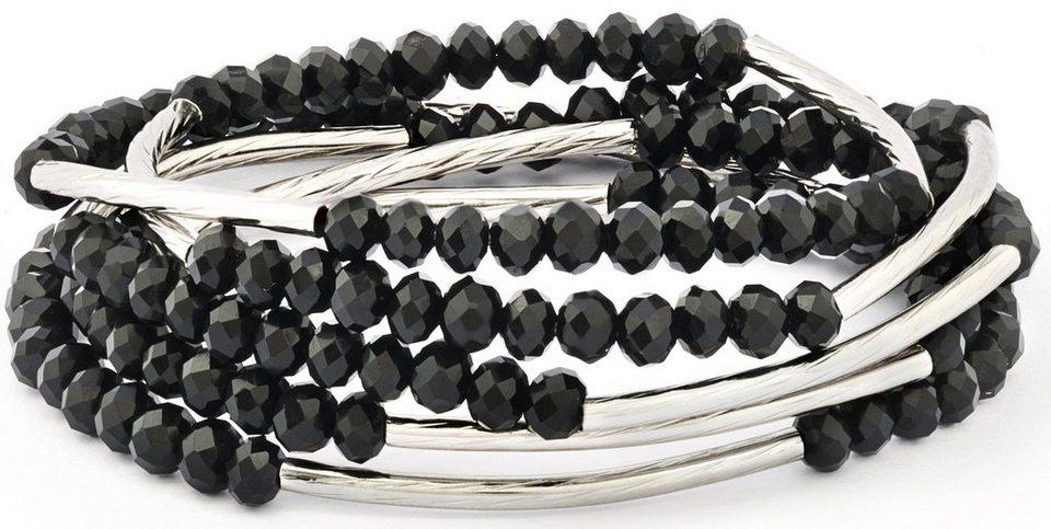 Chrysalis Wickelarmband »FRIENDSHIP - Glaube an dich selbst, CRWF0001SP-G« auch als Halskette tragbar, mit Glassteinen in silberfarben-schwarz