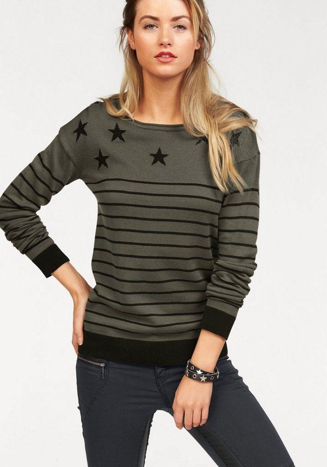 AJC Streifenpullover mit Sternen in khaki-schwarz