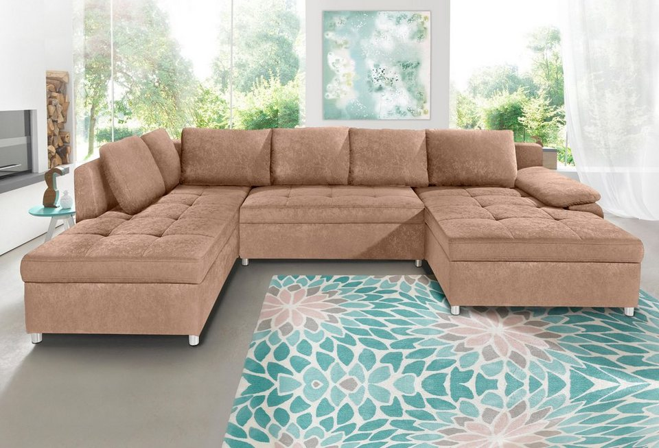 Sit more wohnlandschaft xxl labene wahlweise mit for Couch xxl u form