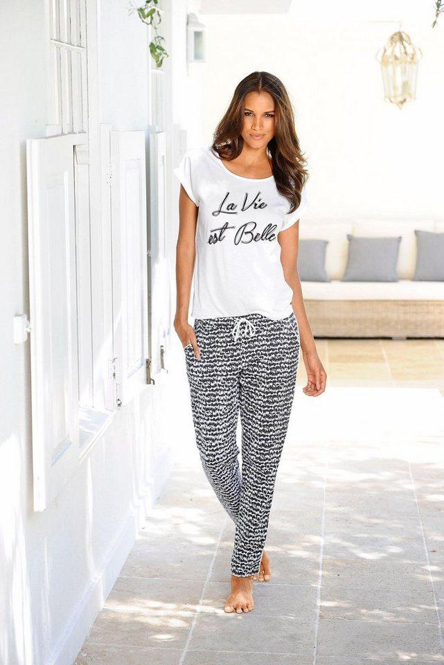online retailer f179f f73b1 s.Oliver Bodywear Pyjama »La Vie est Belle«, im Schwarz-Weiß-Design »La Vie  est Belle« online kaufen | OTTO
