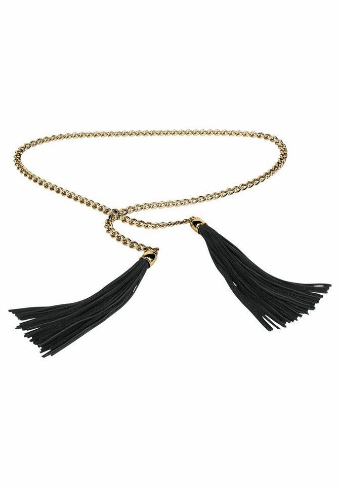 J. Jayz Kettengürtel mit langen Fransen in goldfarben-schwarz