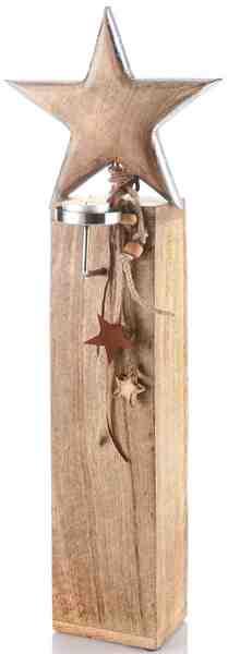 Holzstern auf Sockel inkl. Teelichthalter