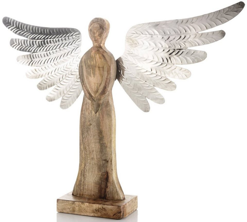 Dekofigur Engel in holzfarben, silberfarben