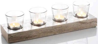 Teelichthalter, aus massivem Holz, weiß gewischt