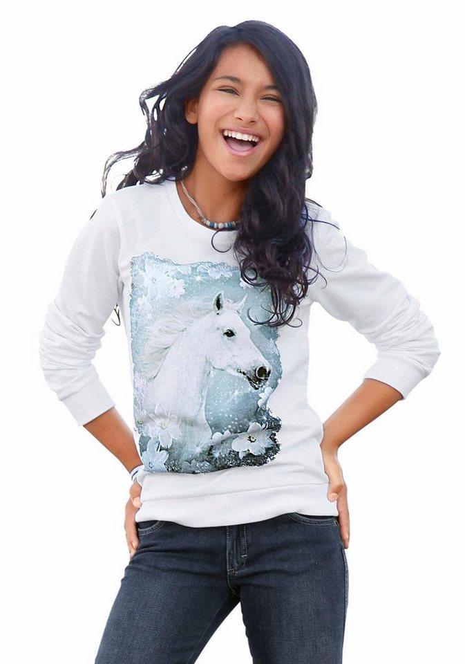 KIDSWORLD Sweatshirt Hochwertiger Fotodruck in weiß