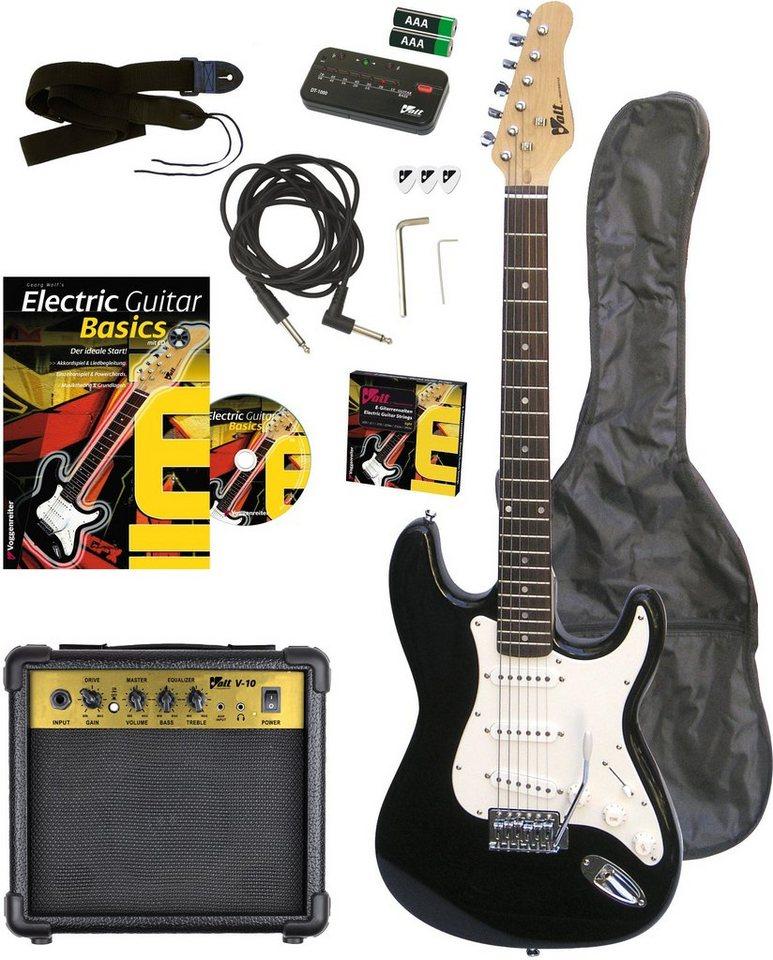 Set: E-Gitarre, Voggenreiter in schwarz