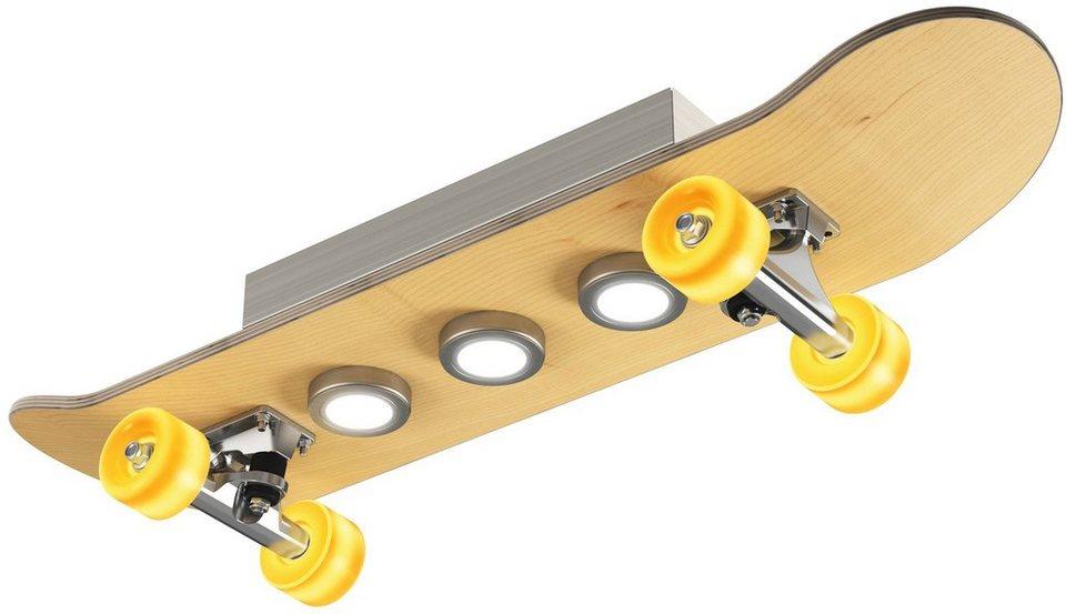 EVOTEC LED-Deckenleuchte, 7flg., »LIGHT CRUISER« in edelstahlfarben mit Holz