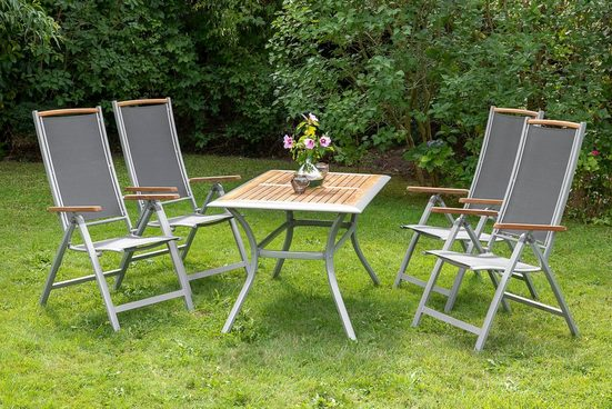 MERXX Diningset »Siena«, 5-tlg., 4 Sessel, 1 Tisch 140x80 cm, Aluminium, Akazienholz