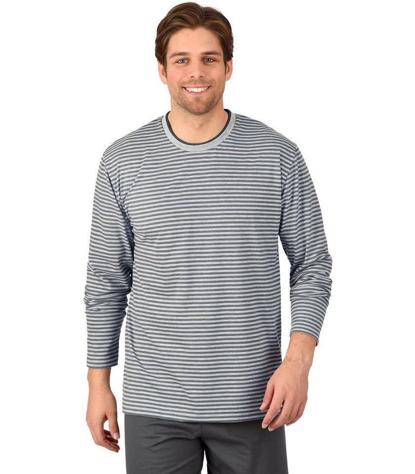 TRIGEMA Langarm-Shirt in grau-melange