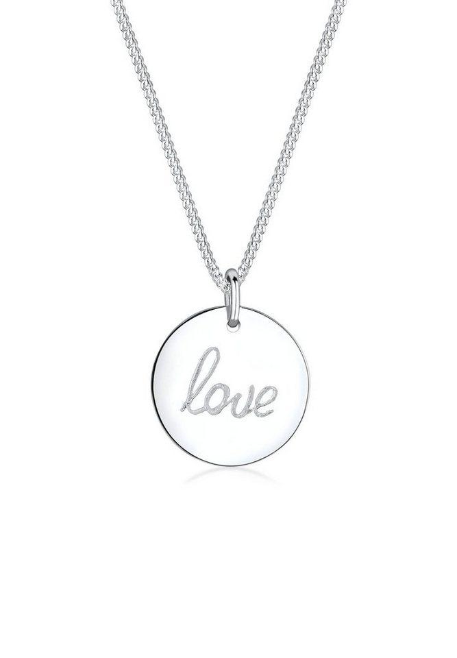 Elli Halskette »925 Sterling Silber LOVE-Schriftzug« in Silber