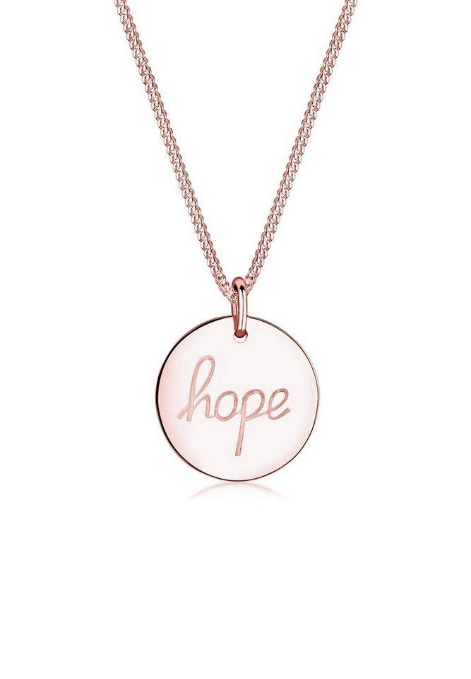 Elli Halskette »HOPE-Schriftzug 925 Sterling Silber« in Rosegold
