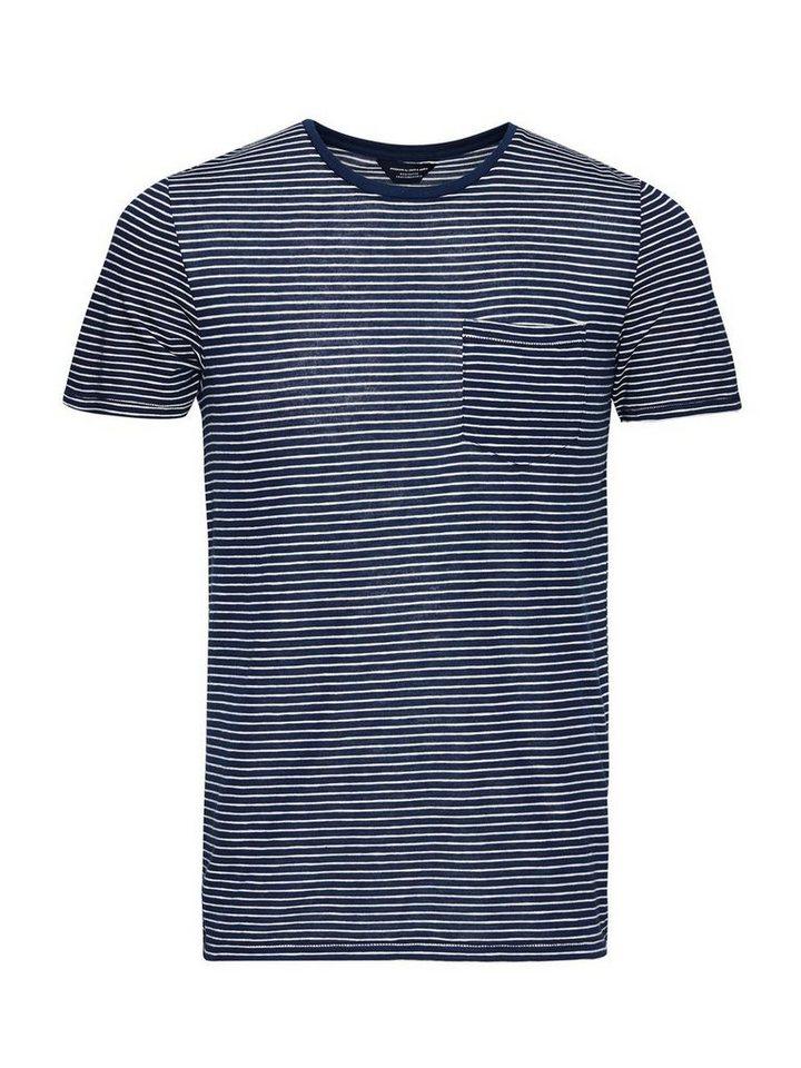 Jack & Jones Longline Streifen T-Shirt in Navy Blazer
