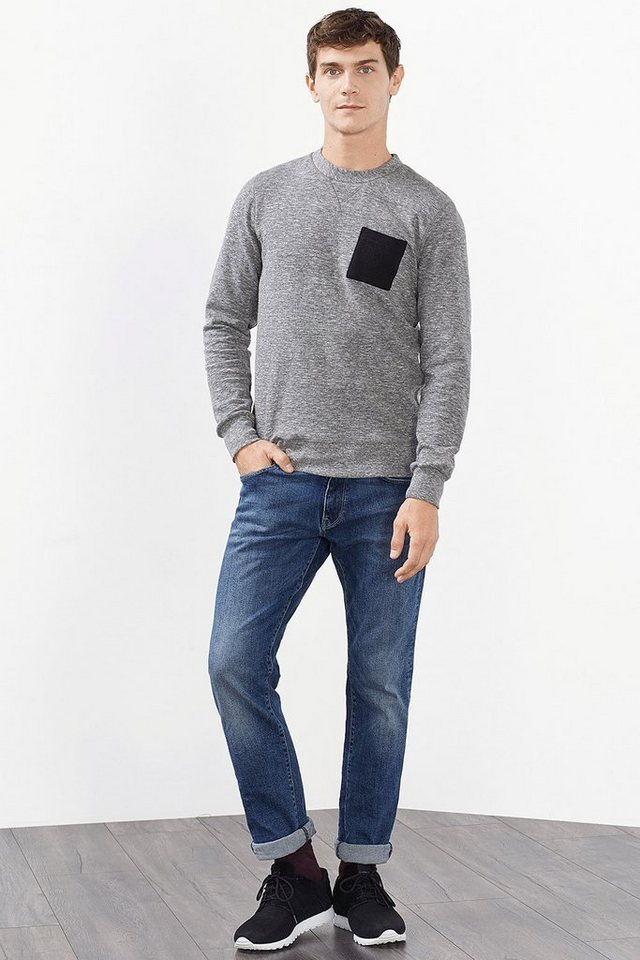 ESPRIT CASUAL Baumwoll-Mix Sweatshirt mit Slub Effekt in MEDIUM GREY