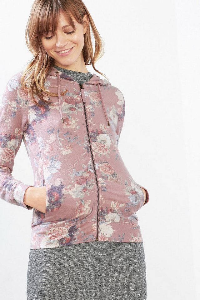 EDC Flauschige Sweat Hoodie-Jacke in MAUVE