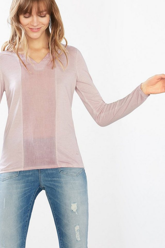 EDC Gewaschenes Shirt im Materialmix in LIGHT PINK