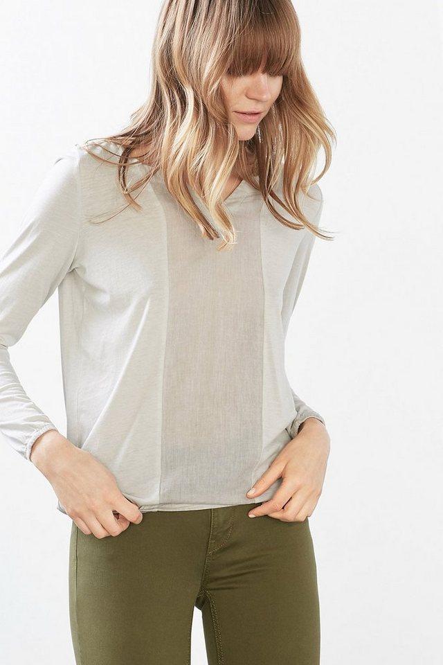 EDC Gewaschenes Shirt im Materialmix in TAUPE