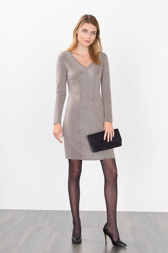 ESPRIT COLLECTION Strickkleid mit shiny Zopfmuster in TAUPE