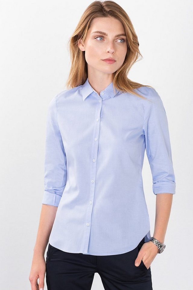 ESPRIT COLLECTION Business-Bluse aus 100% Baumwolle in LIGHT BLUE