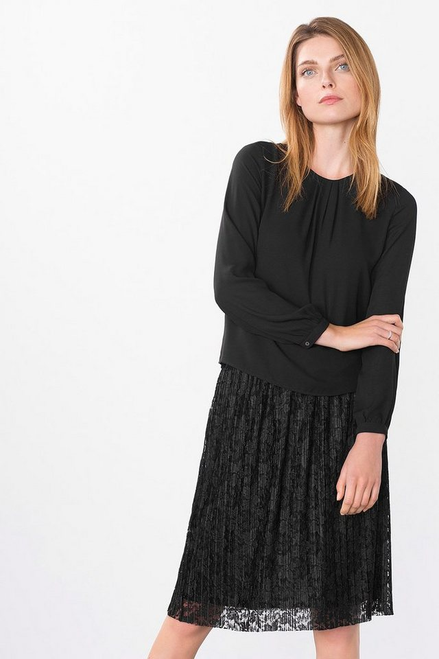 ESPRIT COLLECTION Fließende Crepe-bluse mit Raffungen in BLACK
