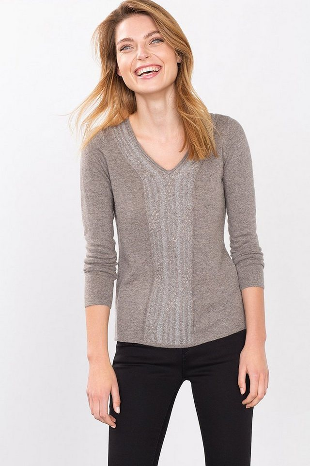ESPRIT COLLECTION Feinstrickpulli mit shiny Zopfmuster in TAUPE