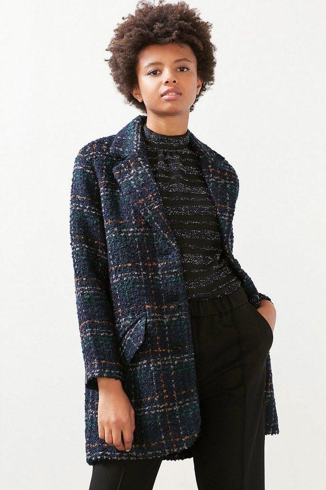 ESPRIT CASUAL Jacke mit Struktur-Karo aus Woll-Mix in NAVY