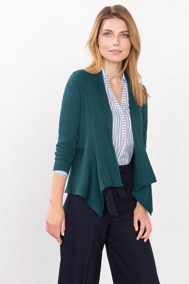 ESPRIT CASUAL Offener Melange-Cardigan mit Rippstruktur in DARK TEAL GREEN