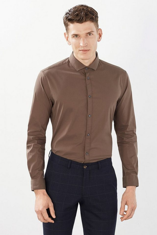 ESPRIT COLLECTION Basic Stretch-Hemd aus Baumwoll-Mix in BROWN