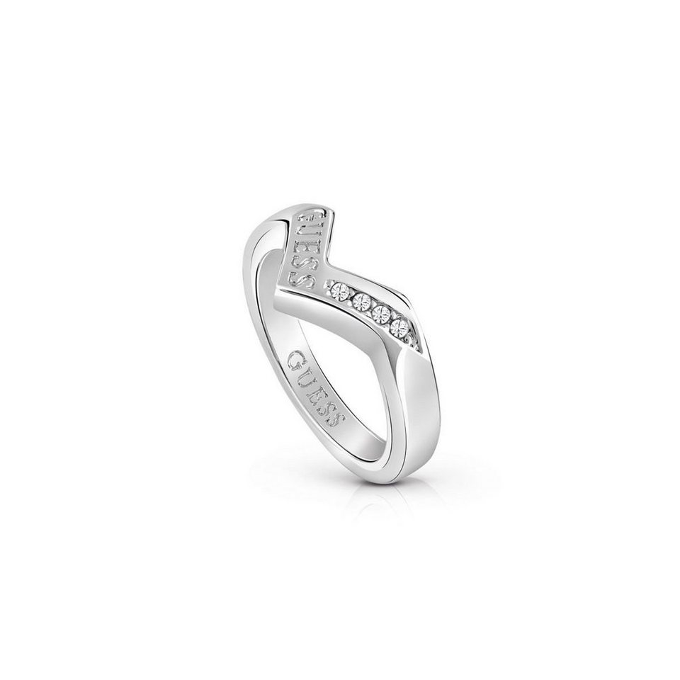 Guess RING TRIOMETRIC RHODINIERT in Silber