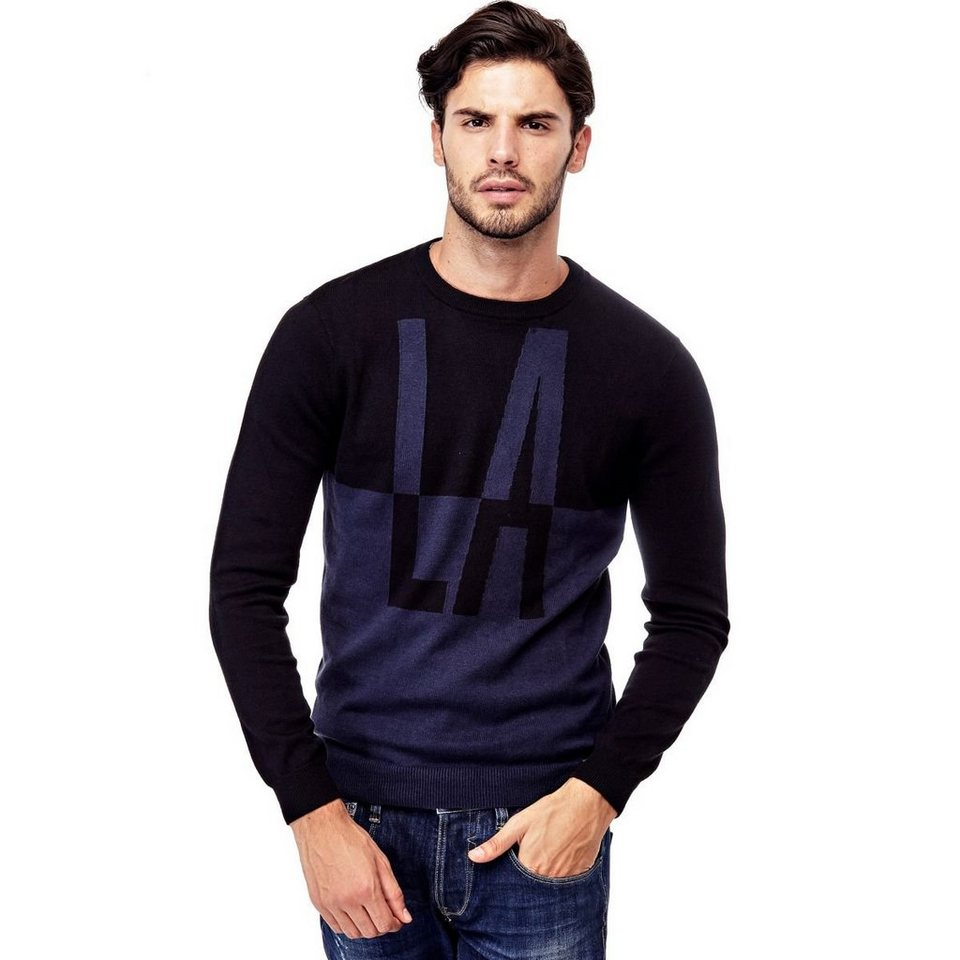 Guess PULLOVER COLOR BLOCK in Schwarz