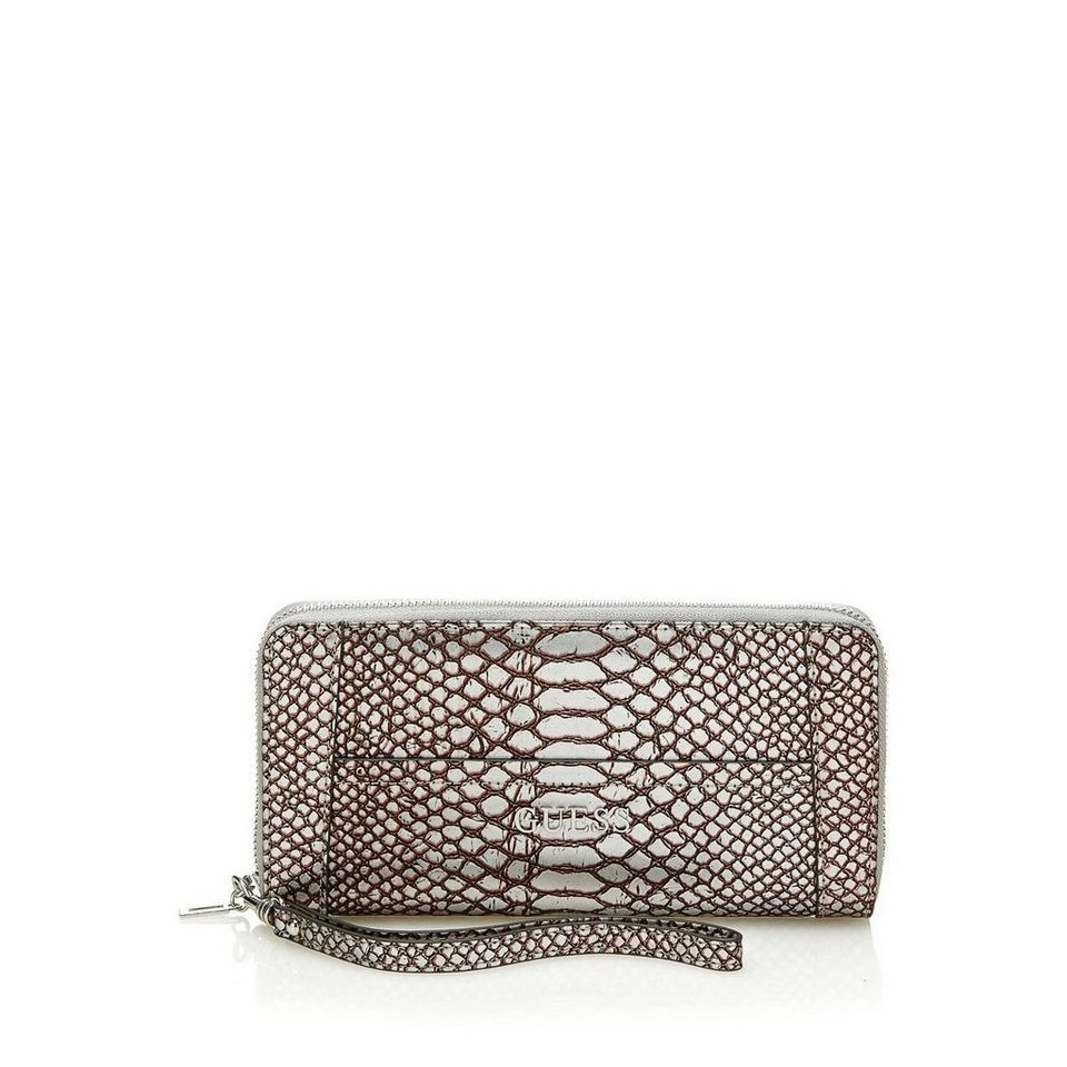 Guess PORTEMONN. DELANEY PYTHON METALLIC in Silber