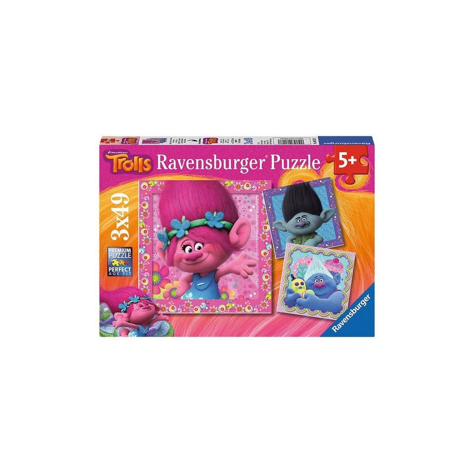 Ravensburger Puzzle 3 x 49 Teile Trolls Quietschbunte Freunde