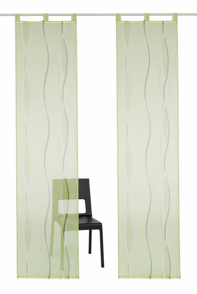 Schiebegardine, my home, »Dimona«, mit Schlaufen (2 Stück mit Zubehör) in grün